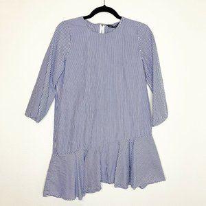 ZARA Small Dress Striped Asymmetrical Hem Blue